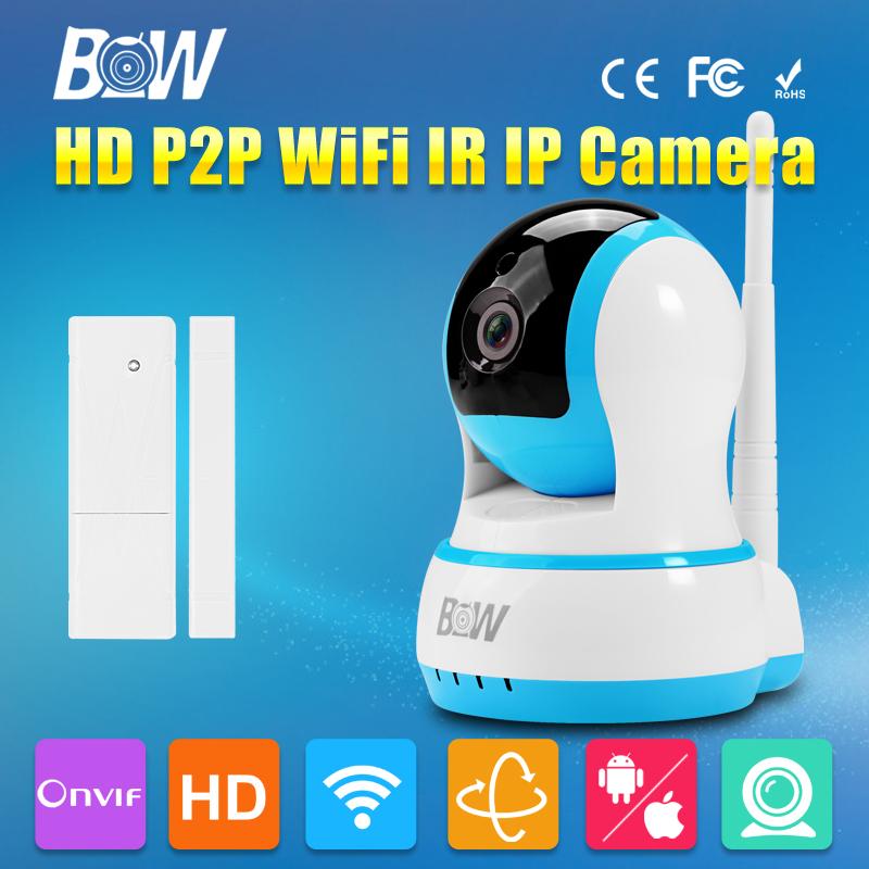 Wifi IP Camera HD 720P P2P Pan 120'Tilt 355'Infrared IR Wireless + Door Sensor CCTV Onvif Surveillance Security Automatic Alarm(China (Mainland))