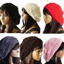 2013 New Fashion Women's Lady Beret Braided Baggy Beanie Crochet Warm Winter Hat Ski Cap Wool Knitted  08AN(China (Mainland))