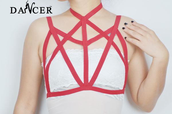 Новая камера бюстгальтер модно сексуальная геометрическая красный спандекс проводов ...