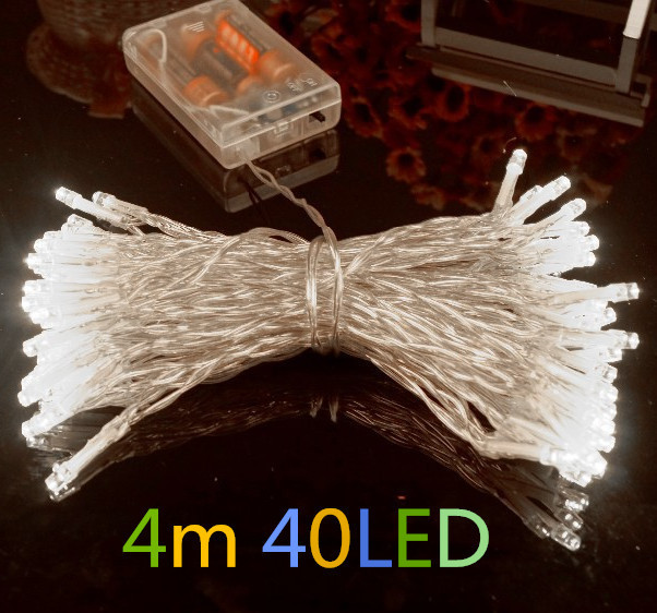 Outdoor Festival Christmas Decoration LED String Battery Operated PVC Tube Shape Fairy Lights 4M 40 LED<br><br>Aliexpress