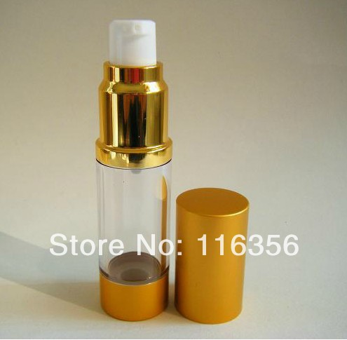 15ML Gold airless bottle or cosmetic sprayer with white pump<br><br>Aliexpress