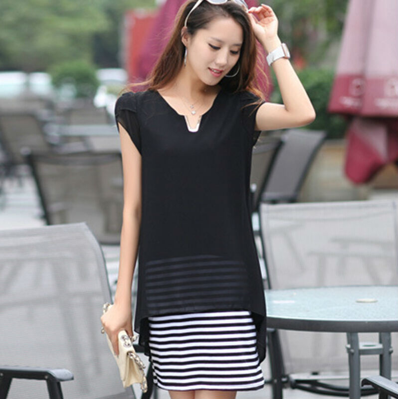2015 Spring Summer Sweet Ladies Blouses Dress Black Striped Design Women One-Piece Clothing Size M- XXL Fashion Chiffon - First Mall store
