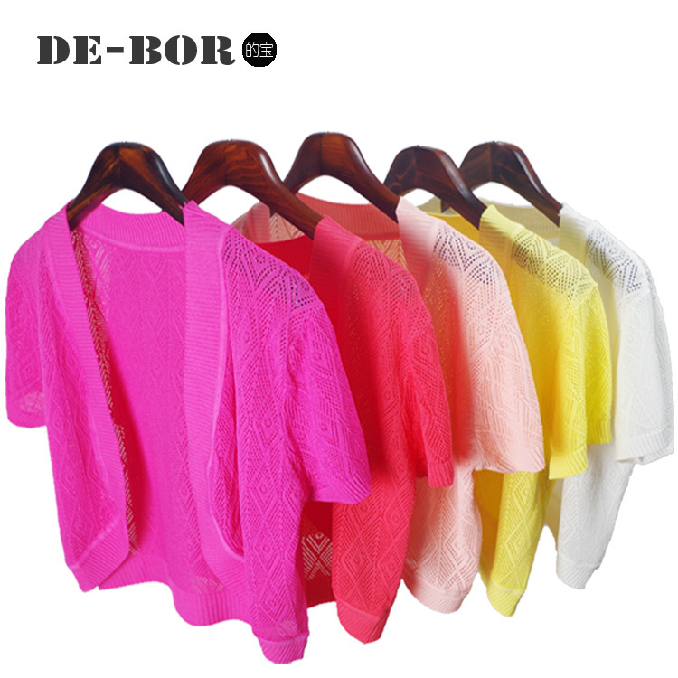 2015 New 5 Candy Solid Colors Women Summer Short Cotton Cardigan Casual Loose Design Short Sleeves Shrug Thin Knitted Crop Top(China (Mainland))