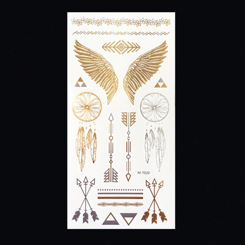 M T020 Wholesale Body Paint tattoo taty Glitter gold tattoo stickers Metal temporary flash tattoos Arabic