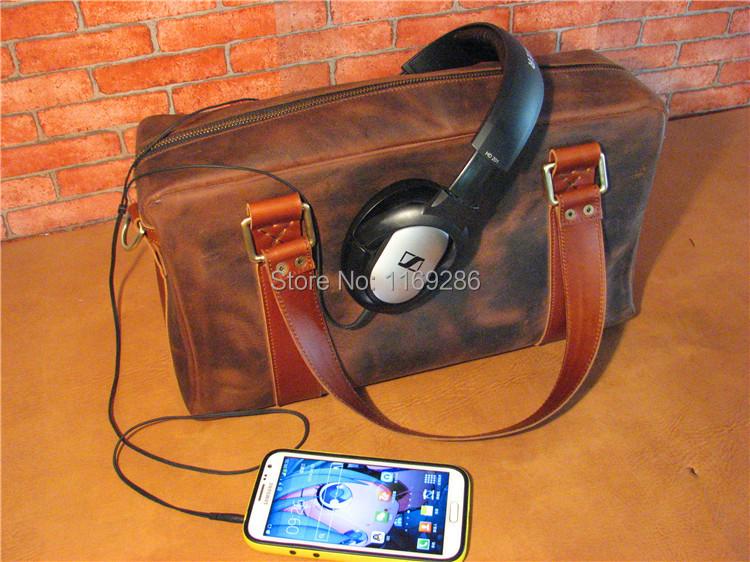 Handmade first layer of cowhide shoulder bag vintage full genuine leather messenger bag handbag crazy horse leather travel bag