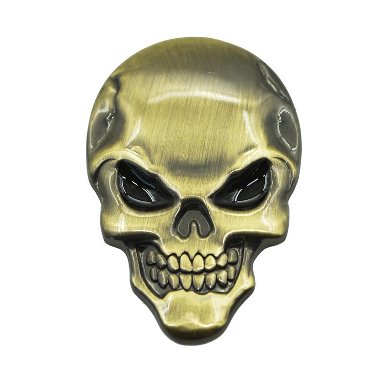 3D Car Styling Universal Skull Skeleton Symbol Sticker Film Decorative Emblems Badge Zinc Alloy Metal Auto Accessories Brand New(China (Mainland))