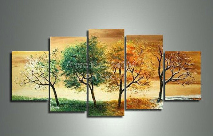 Handpainted 5 Piece Modern Landscape Decorative 4 Season Tree Pictures Oil Paintings On Canvas Wall Art For Home OPS00096(China (Mainland))