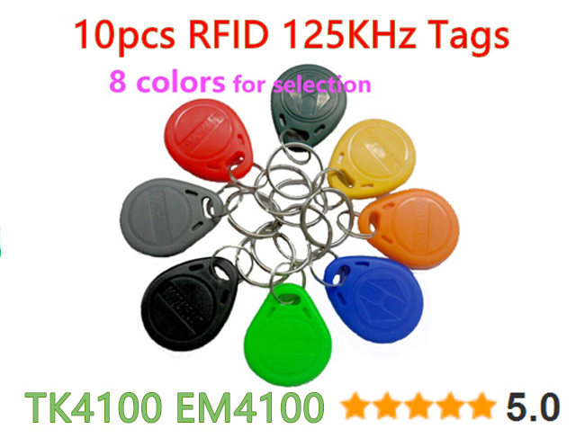 10 pcs/lot 125Khz RFID Tag Proximity ID Token Tag Key Fob Plastic Water Resist TK4100 Chip for Access Control Time Attendance(China (Mainland))