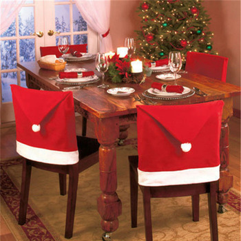 1pcs 2015 New Fashion Santa Clause Cap Red Hat Furniture Chair Back Cover Christmas Dinner Table Party Xmas New Year Decoration