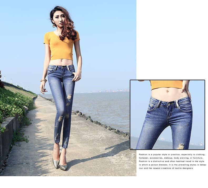 New fashion Jeans Women Females Skinny Fashion Blue Holes Denim Cotton Soft Denim Pants Jeans For Women Clothing
