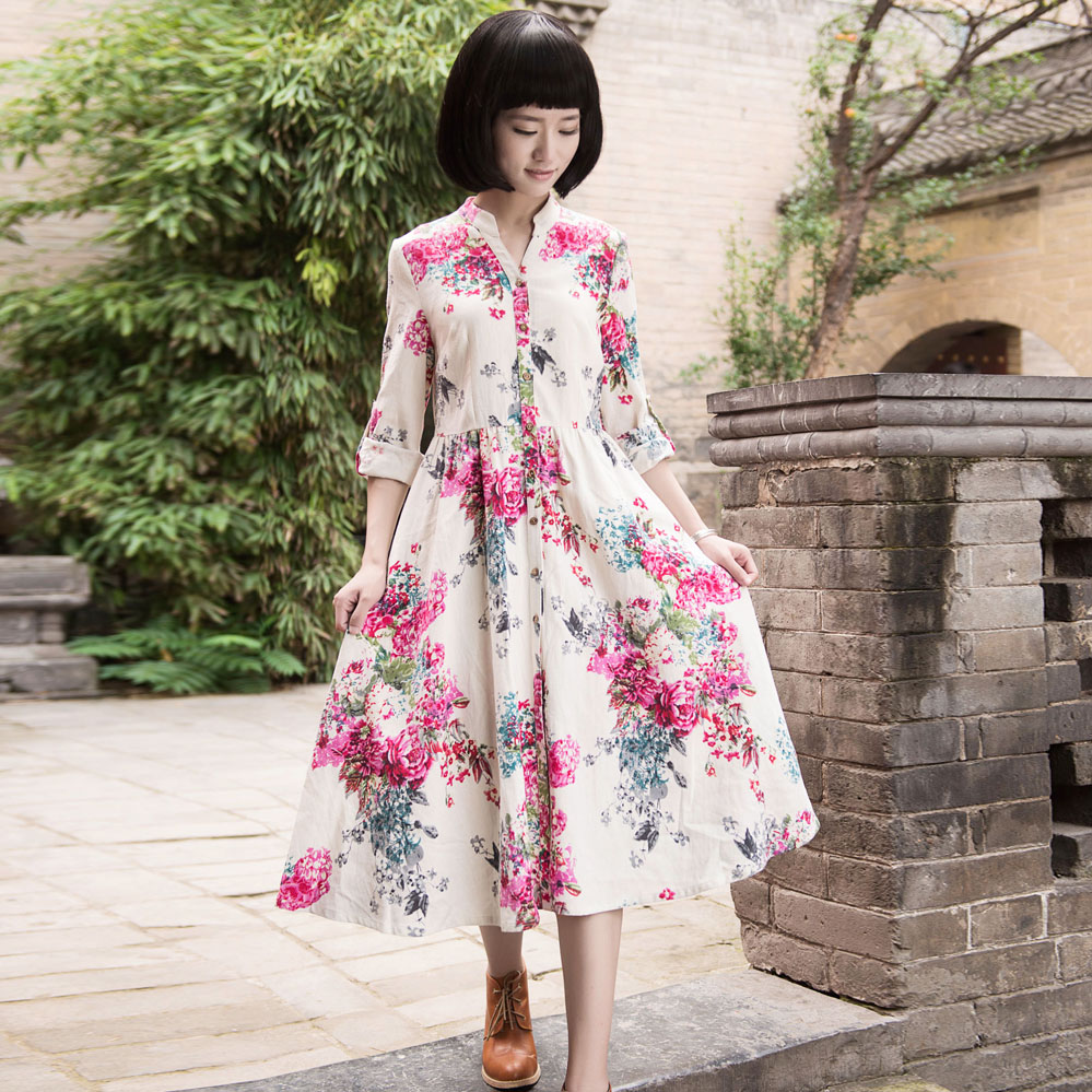 Spring national trend print linen open front long-sleeve slim one-piece dress y31Одежда и ак�е��уары<br><br><br>Aliexpress