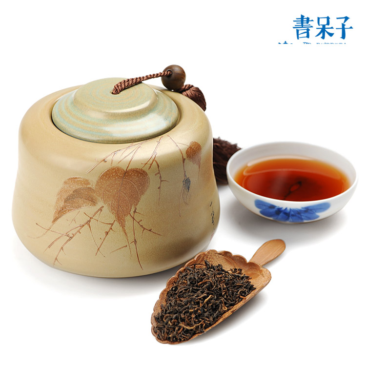 Free shipping 2008 PU er cooked tea loose tea 200g send ceramic canned for free
