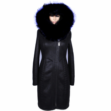 Factory wholesale 100% natural leather fox fur collar fashion Crystal sheepskin women thick 2015 winter Middle-aged Coat(China (Mainland))
