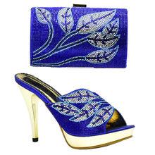 Senhoras italiano Sapatos e Bolsas Para Combinar Conjuntos Decorado com Strass Sapatos De Casamento Nigéria e Sacos Do Partido Sapatos e Bolsa conjuntos(China)