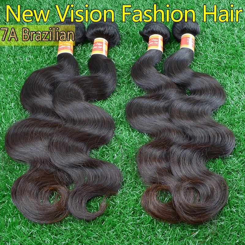 7A Top grade brazilian virgin hair body wave 4pcs Natural black human hair bundles 100% unprocessed virgin brazilian body wave(China (Mainland))