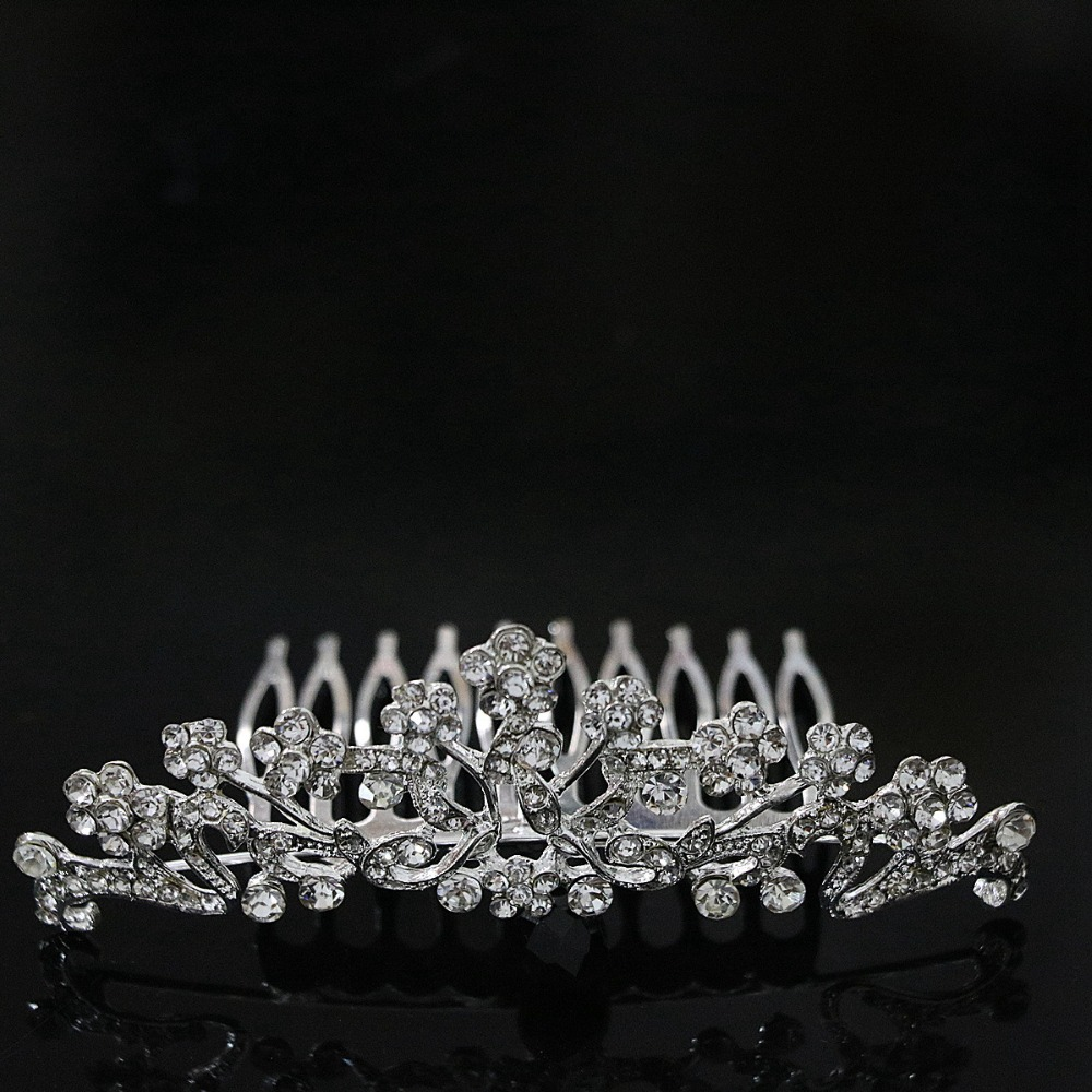 Charms design crown hairpins sliver plated crystal elegant best-selling hair clip party weddings best headdress jewelry B1268-4(China (Mainland))