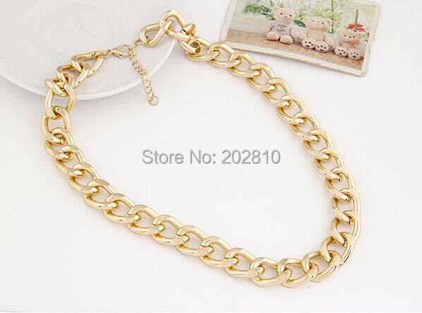 2015 New Fashion Gold Plated Women Gift Chain Chunky Necklaces,trendy girls gold big chunky necklaces,frozen chunky necklace(China (Mainland))