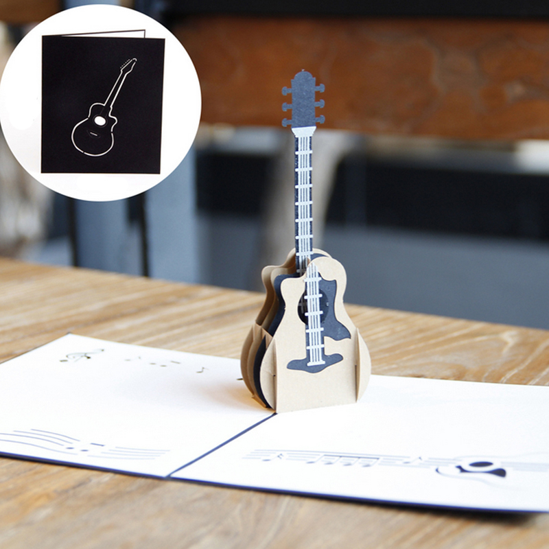 3D Pop Up Music Guitar Greeting Card Christmas Valentine Birthday Invitation(China (Mainland))