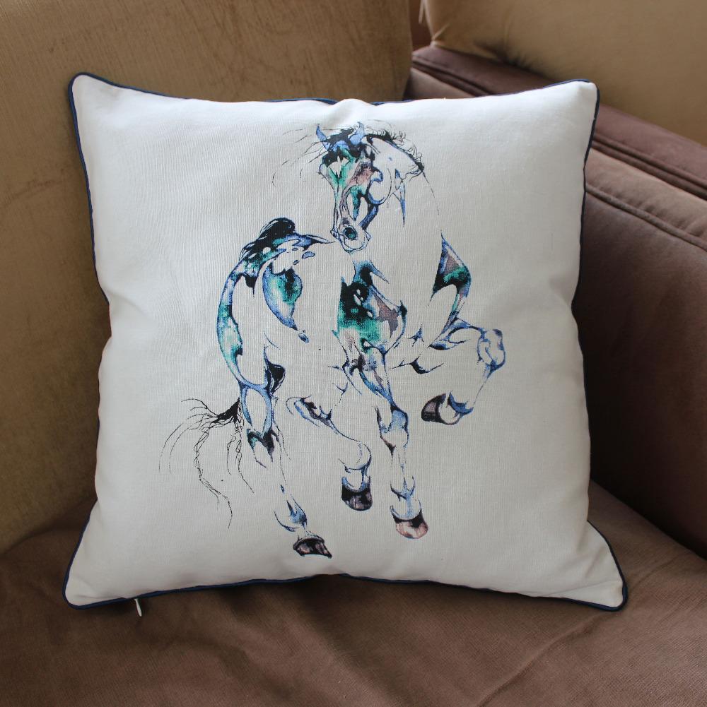 VEZO HOME new printed horse cotton sofa cushion cover home decorative throw pillows cover chair ...