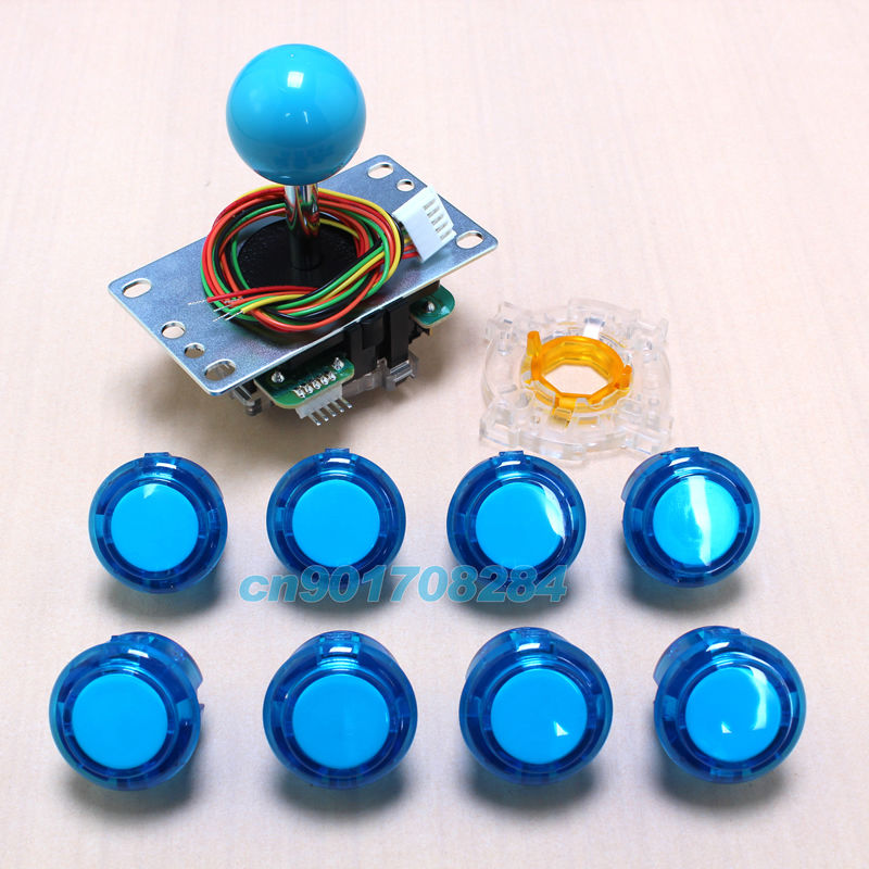 New Sanwa JLF-TP-8YT Rocker + 8x OEM 30mm Clear Transparent Push Buttons For Arcade Joystick DIY Kits Parts Mame Games(China (Mainland))