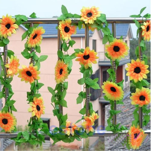 3PCS/LOT Artificial Sunflower Garland Flower Vine for DIY Home Wedding Floral Decor NEW(China (Mainland))