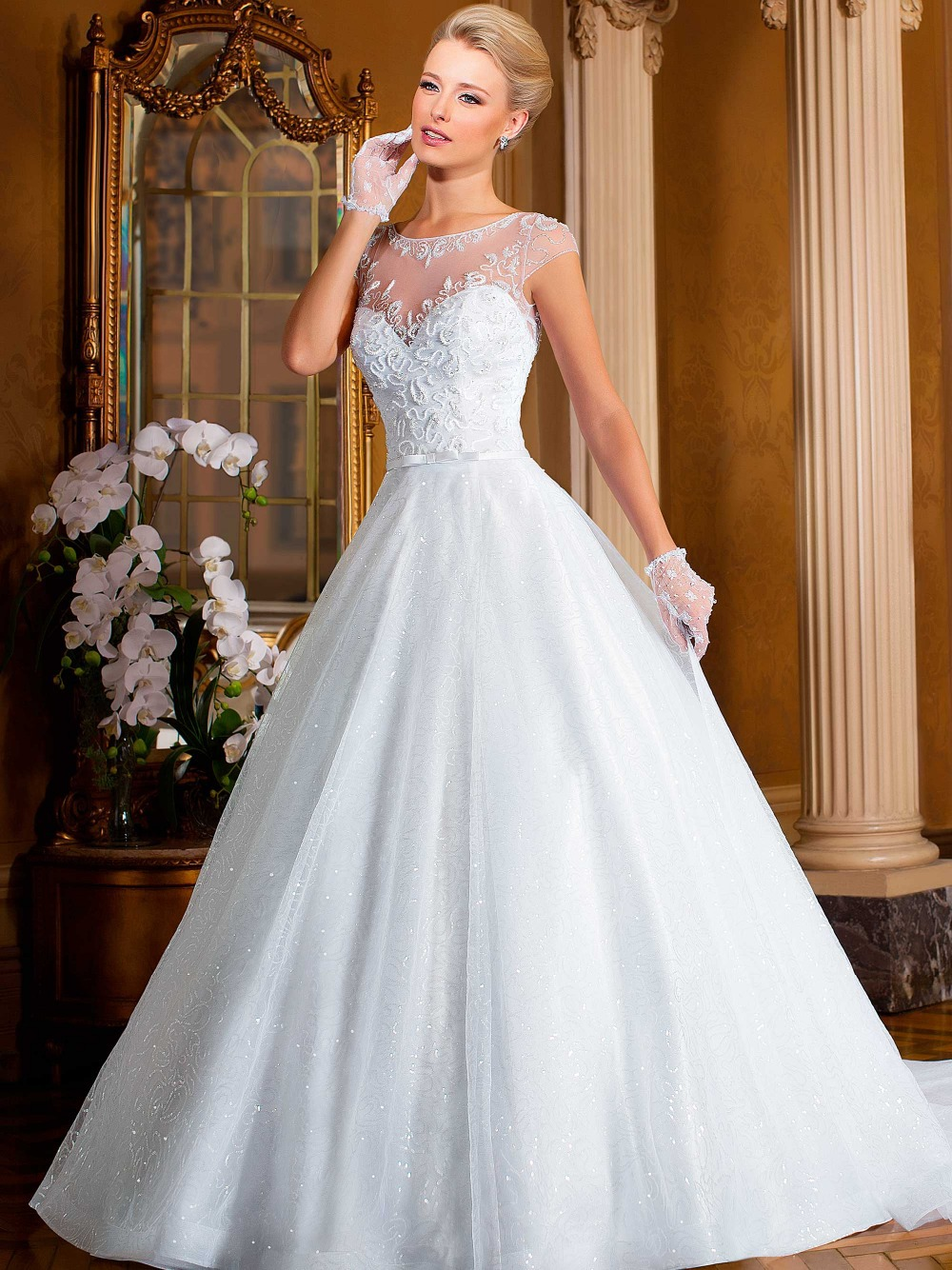 White Sequin Wedding Dress Images