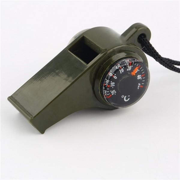 1 ADET Yeni Marka Taşınabilir Çok Fonksiyonlu Siyah Düdük Pusula ve Termometre 3 1 Survival Kamp Aksesuar