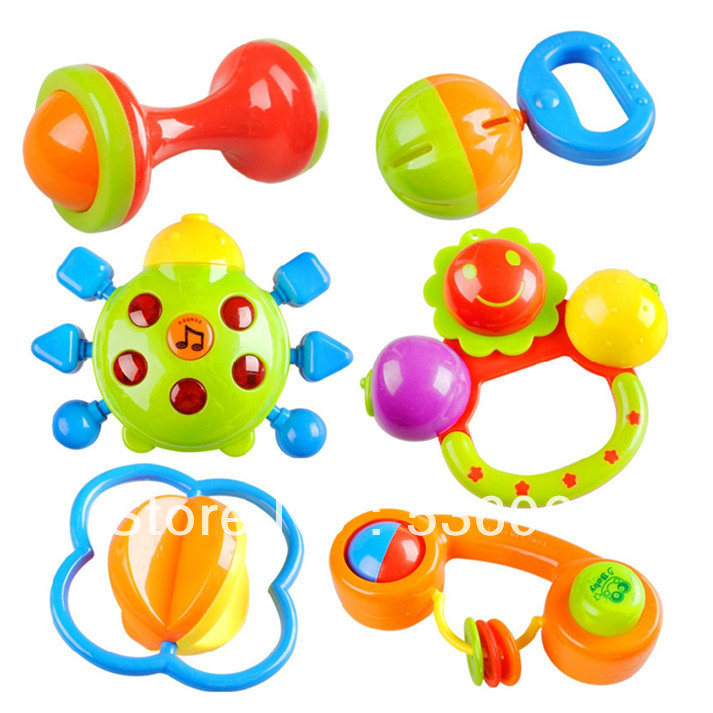 Гаджет  6pcs/lot New Lovely Plastic Baby Toys Hand Shake Bell Ring Rattles toys Baby Educational Toys Free shipping None Игрушки и Хобби