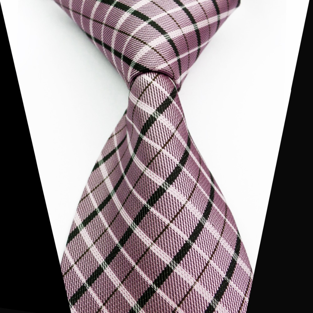 LT0138 Pink White Black Striped 100% Silk Classic Polyester Jacquard Woven Casual Necktie(China (Mainland))