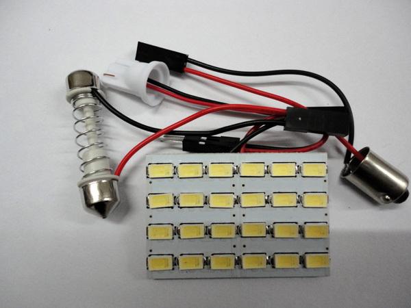 new wholesale 100set/lot Dome panel led light 24 SMD 5630 auto LED Car Interior Reading Lamp T10 Adapters White 12V parking