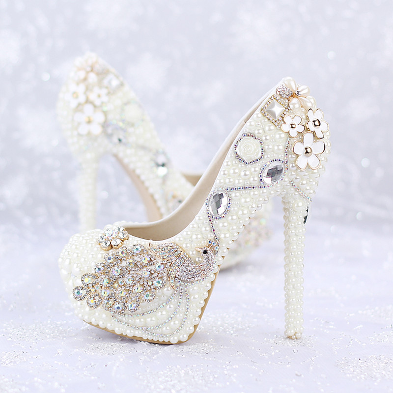New elegant wedding Shoes round toe crystal High Heels Bridal dresses Shoes white pearls rhinestone phoenix  dress prom Pumps<br><br>Aliexpress