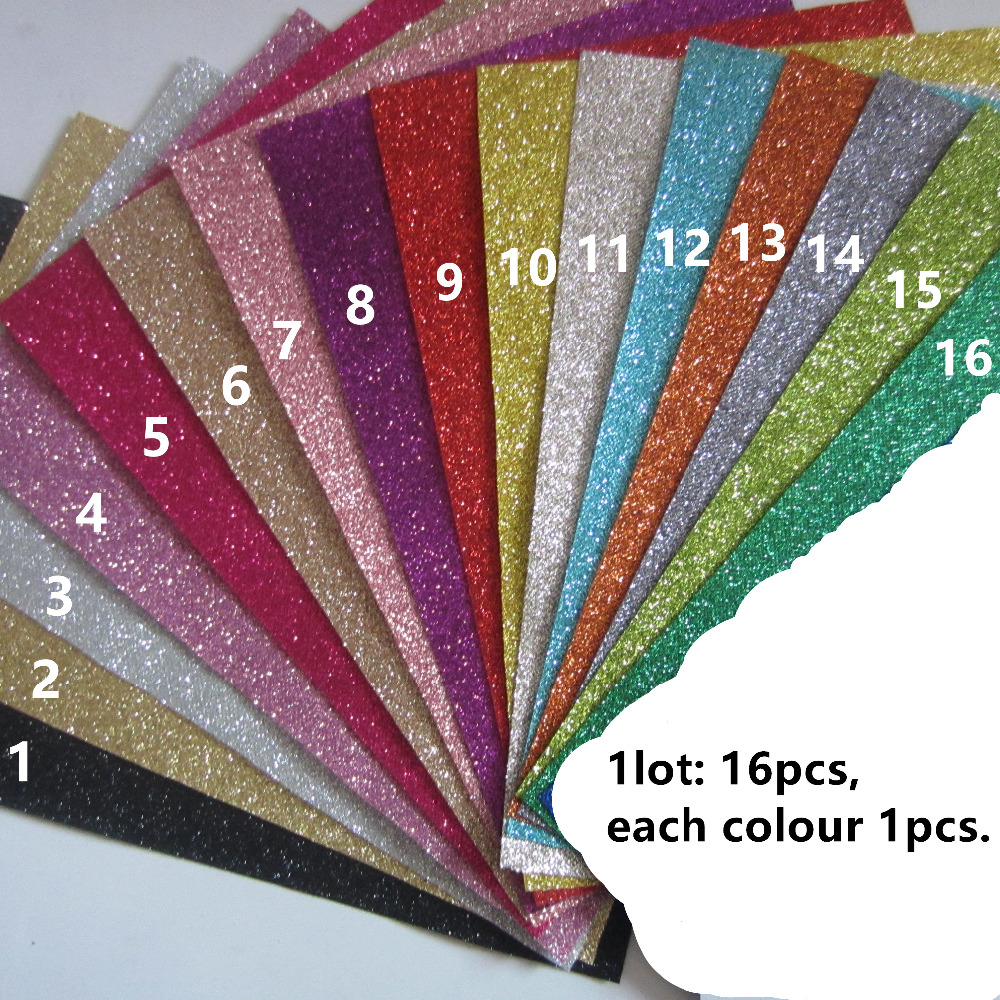 16pcs 21x30cm a4 size t001 colour sample fine glitter fabric material for christmas diy bow - Free Sample Shoes