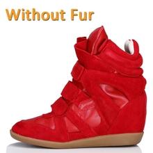 New 2015 Genuine Leather Suede Winter Bekett Fashion Women Casual Shoes Brand Original Sole Platform Fur Height Increasing(China (Mainland))