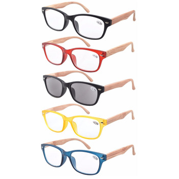 R017 Eyekepper 5-pack Spring Hinge Wood-grain Printed Arms Reading Glasses +1.0/1.25/1.5/1.75/2.0/2.25/2.5/2.75/3.0/3.5/4.0
