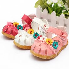 2015 New Promotion Summer Cute Baby Girls Sandals Princess Flowers Toddlers Kids Children Shoes 2 Colrs & Size 21-25For Choice(China (Mainland))