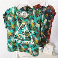 2015 summer new  character design Hawaii   pineapple coconut leaf print women crop top  short sleeve T-shirt  women clothing