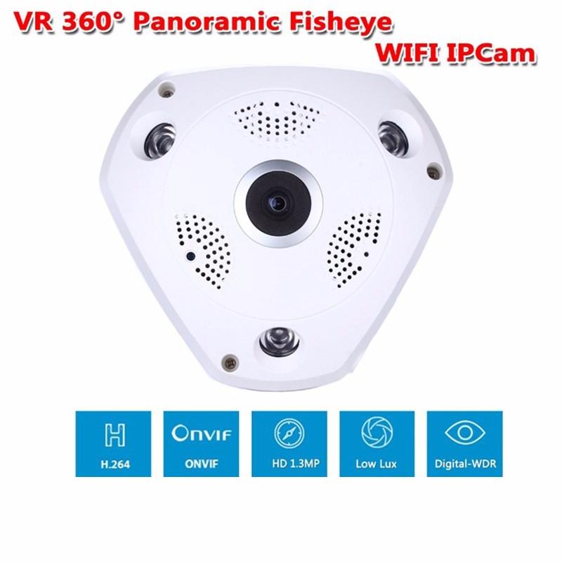 ถูก 960จุด360 3D VRผ่านกล้องไร้สายกล้องIPเลนส์Fisheyeช่องเสียบการ์ดSD 1.3MPพาโนรามากล้องNight Visionกล้องวงจรปิดเฝ้าระวังกล้องการรักษาความปลอดภัย