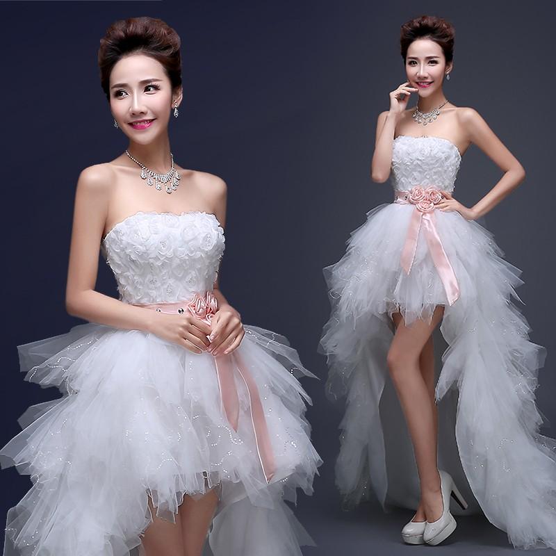 Ocw1 romantic fashionable plus size short front long back for Hi lo wedding dress