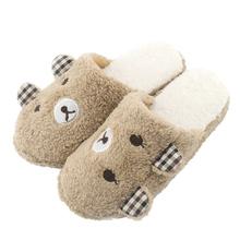 Cute Bear Winter Warm Antiskid Slippers Soft Plush Indoor Couple Home Slipper Shoes pantuflas pantufa(China (Mainland))