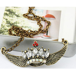 wholesale beautiful crown and wing pendant necklace(China (Mainland))