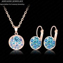 New Arrival 2015 Hot Jewelry Sets 18K Rose Gold Plated Austrian Crystal Fashion Blue Round Necklace&Earring Jewelry Set ST0152-A(China (Mainland))