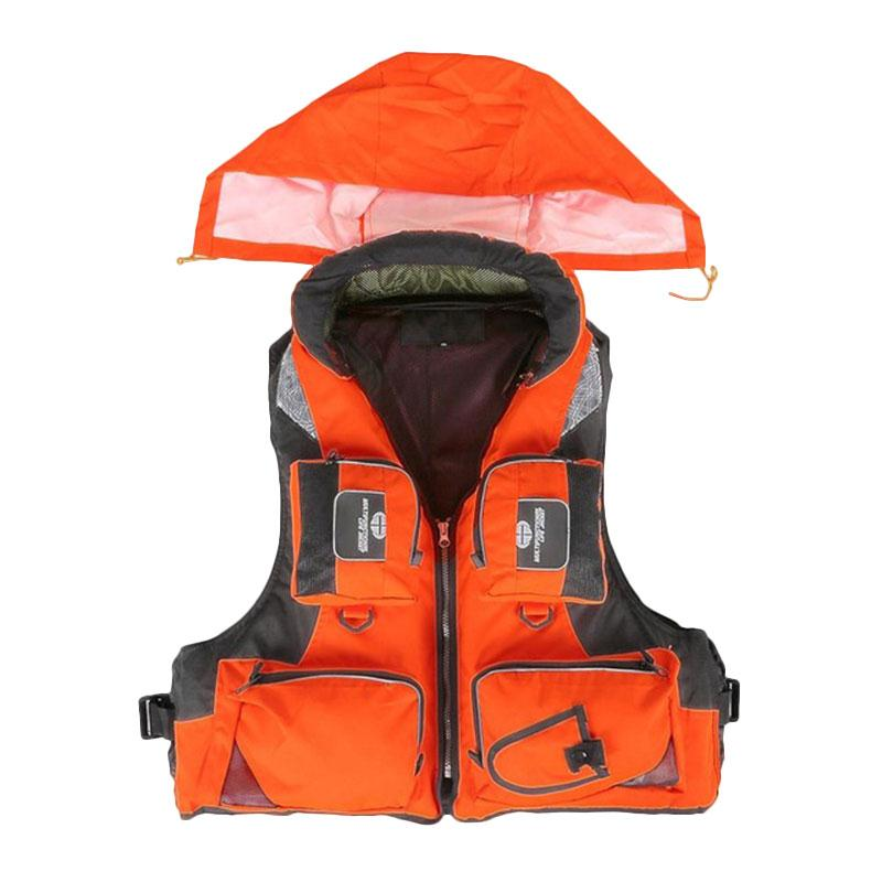 Adult Life Jacket Fishing Polyester Adult Safety Life Jacket Survival Vest Swimming Boating Drifting Ski Vest With Hat(China (Mainland))