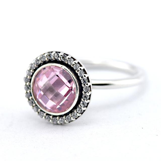 925-Sterling-Silver бриллиант-линия наследие кольцо с розовым кубический циркон , совместимой с ювелирные изделия мода женщины ювелирные изделия кольца