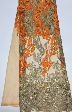 SYL140(2)Amazing stones African net lace best quality,popular net lace guipure lace fabric with gold thread lace in orange!(China (Mainland))
