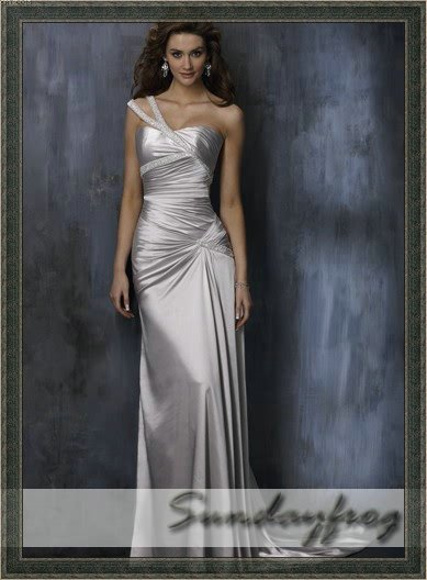 Free shipping maggie best selling sheath one shoulder for Silver satin wedding dress