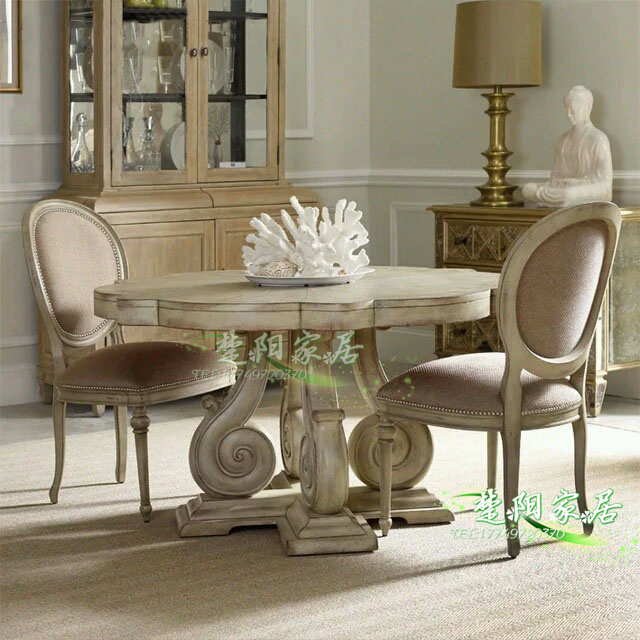 Retro do the old carved wood dinette European American neo-classical hotel model room table antique furniture(China (Mainland))