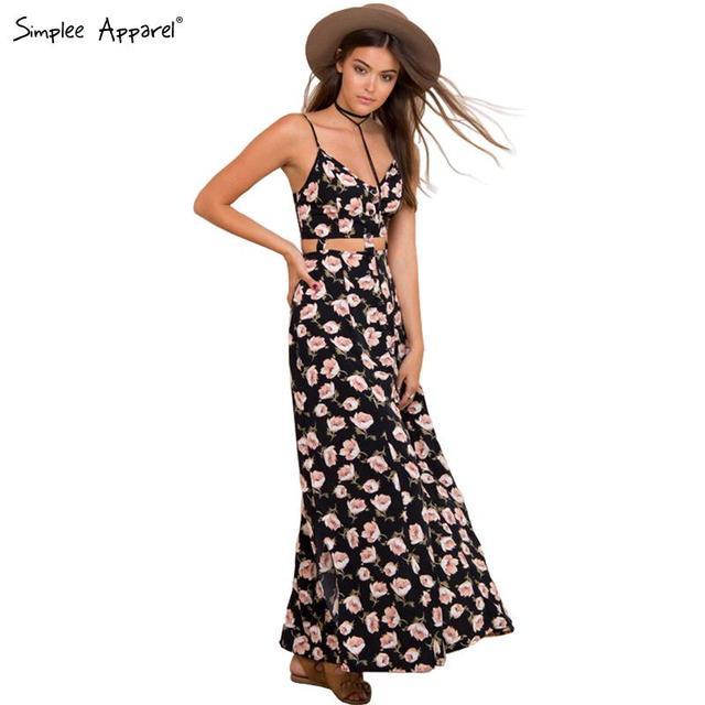 Simplee одежды сексуальный полые-out старинные цветочный принт длинное платье женщины boho 2016 Новый стиль летнее платье девушка ну вечеринку макси vestidos