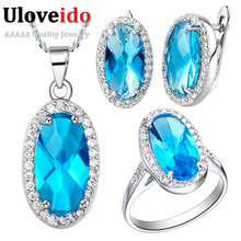 Uloveido Silver Crystal Wedding ceremony Jewellery Set with Blue Stones Titanium Necklace Ladies Earrings Ring Bridal Jewellery Set Retro T010