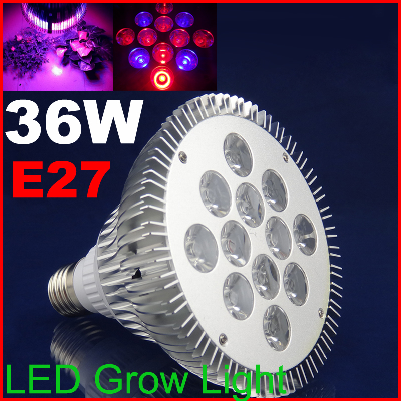 36w LEDLED plants growing  GROW LIGHT E27  8Red 4Blue LED Grow Lamps for flowering plant and hydroponics system AC85-265V<br><br>Aliexpress