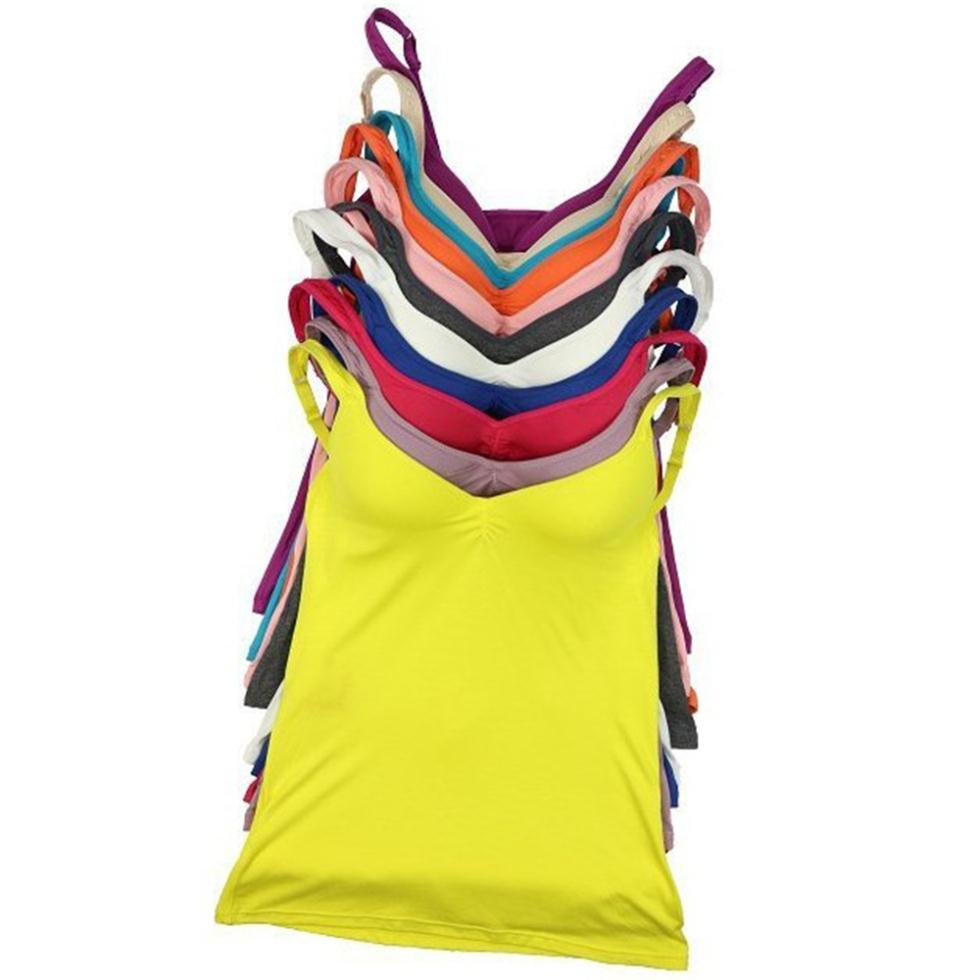 Sexy Women\'s Tank Slim Top Built In Shelf Bra Adjustable Straps Multi-Colors a1(China (Mainland))